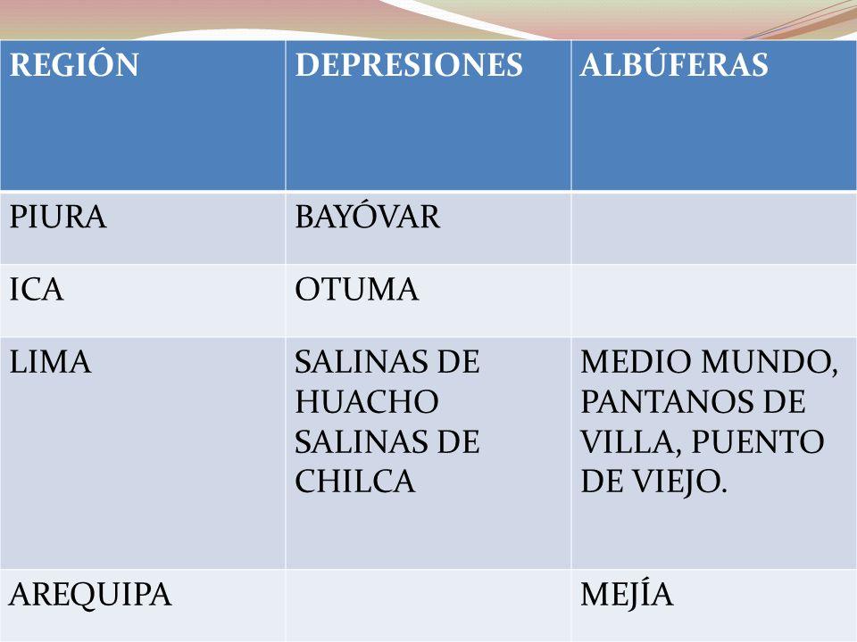 REGIÓNDEPRESIONESALBÚFERAS PIURABAYÓVAR ICAOTUMA LIMASALINAS DE HUACHO SALINAS DE CHILCA MEDIO MUNDO, PANTANOS DE VILLA, PUENTO DE VIEJO. AREQUIPAMEJÍ