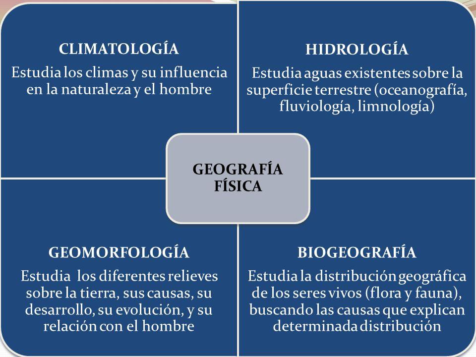 CLIMATOLOGÍA Estudia los climas y su influencia en la naturaleza y el hombre HIDROLOGÍA Estudia aguas existentes sobre la superficie terrestre (oceano