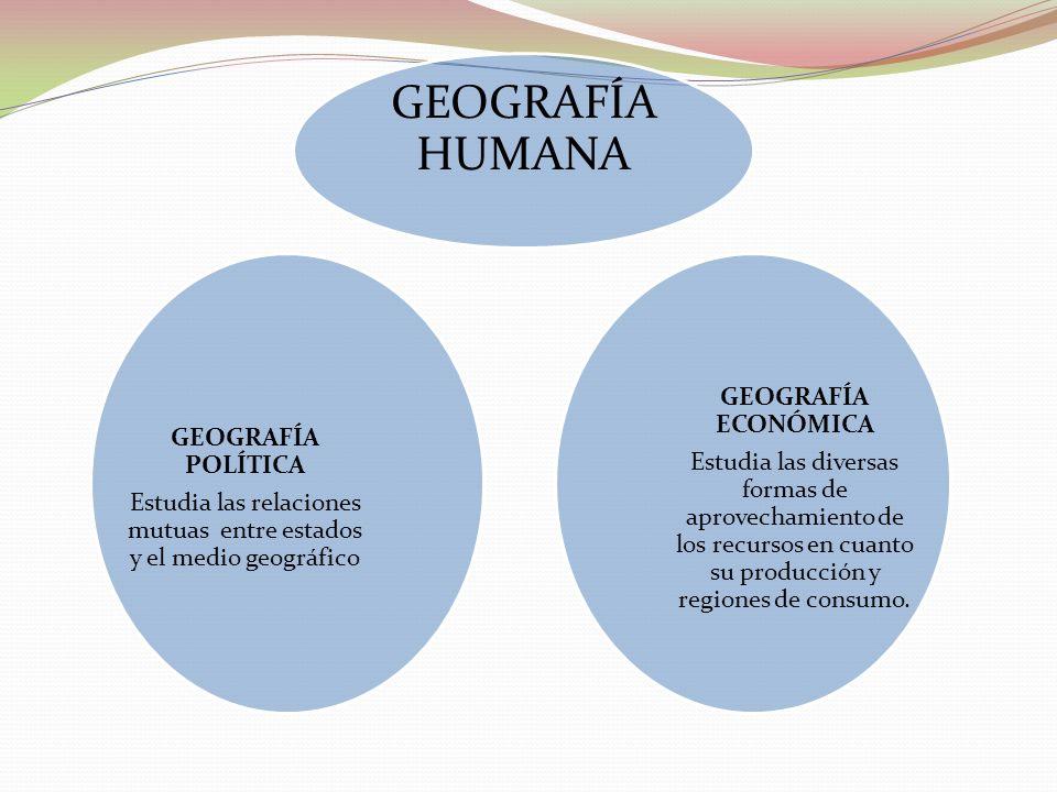 GEOGRAFÍA HUMANA GEOGRAFÍA ECONÓMICA Estudia las diversas formas de aprovechamiento de los recursos en cuanto su producción y regiones de consumo. GEO