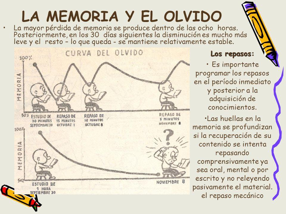 LA MEMORIA Y EL OLVIDO La mayor pérdida de memoria se produce dentro de las ocho horas. Posteriormente, en los 30 días siguientes la disminución es mu