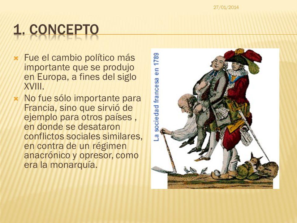 Fue el cambio político más importante que se produjo en Europa, a fines del siglo XVIII. No fue sólo importante para Francia, sino que sirvió de ejemp