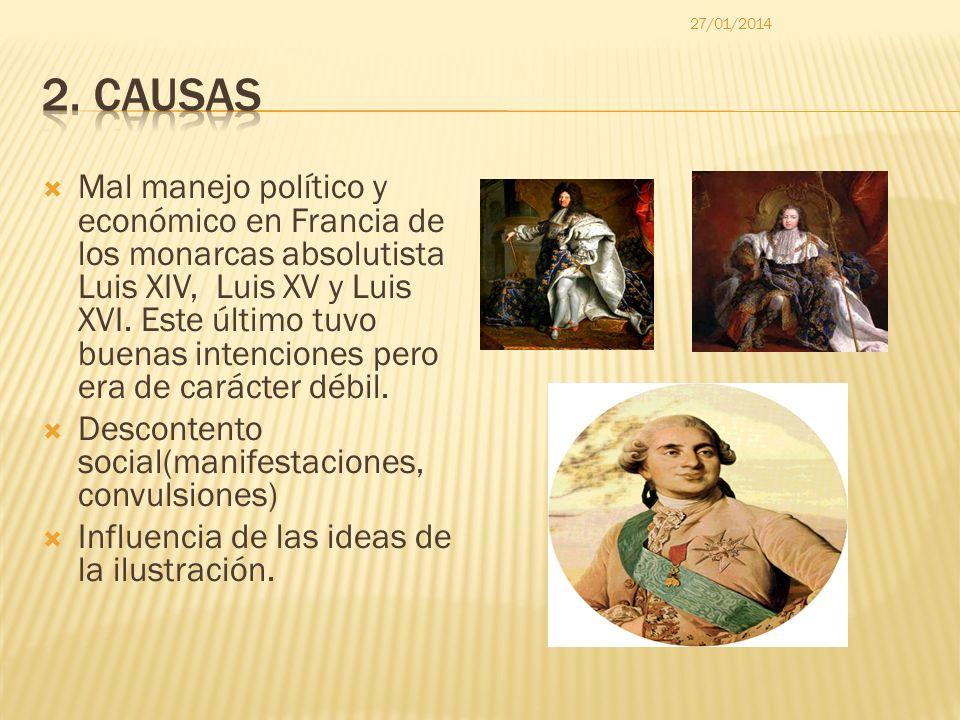Mal manejo político y económico en Francia de los monarcas absolutista Luis XIV, Luis XV y Luis XVI. Este último tuvo buenas intenciones pero era de c