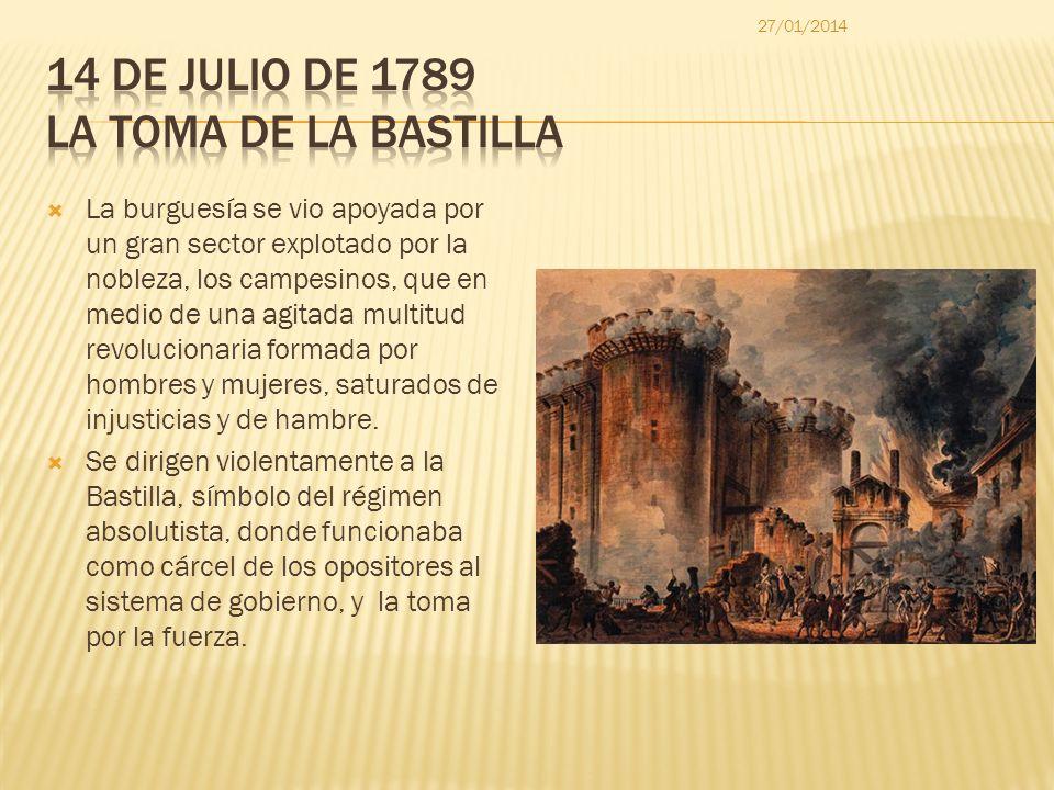 La burguesía se vio apoyada por un gran sector explotado por la nobleza, los campesinos, que en medio de una agitada multitud revolucionaria formada p