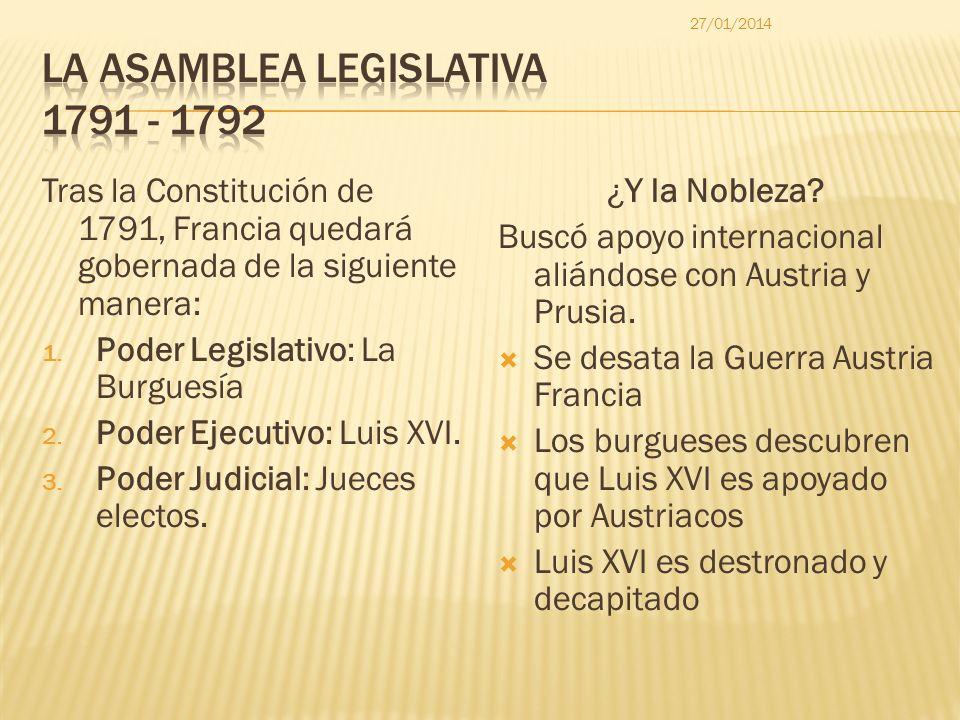 Tras la Constitución de 1791, Francia quedará gobernada de la siguiente manera: 1. Poder Legislativo: La Burguesía 2. Poder Ejecutivo: Luis XVI. 3. Po