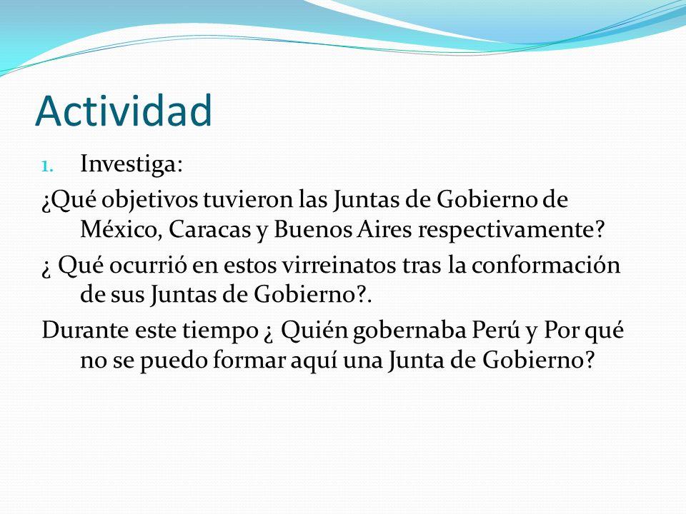 Actividad 1. Investiga: ¿Qué objetivos tuvieron las Juntas de Gobierno de México, Caracas y Buenos Aires respectivamente? ¿ Qué ocurrió en estos virre