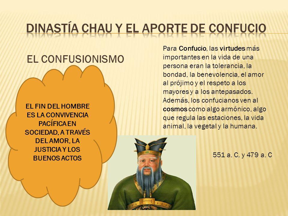 EL CONFUSIONISMO EL FIN DEL HOMBRE ES LA CONVIVENCIA PACÍFICA EN SOCIEDAD, A TRAVÉS DEL AMOR, LA JUSTICIA Y LOS BUENOS ACTOS Para Confucio, las virtud