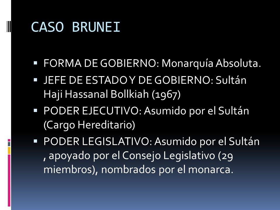 CASO BRUNEI FORMA DE GOBIERNO: Monarquía Absoluta. JEFE DE ESTADO Y DE GOBIERNO: Sultán Haji Hassanal Bollkiah (1967) PODER EJECUTIVO: Asumido por el