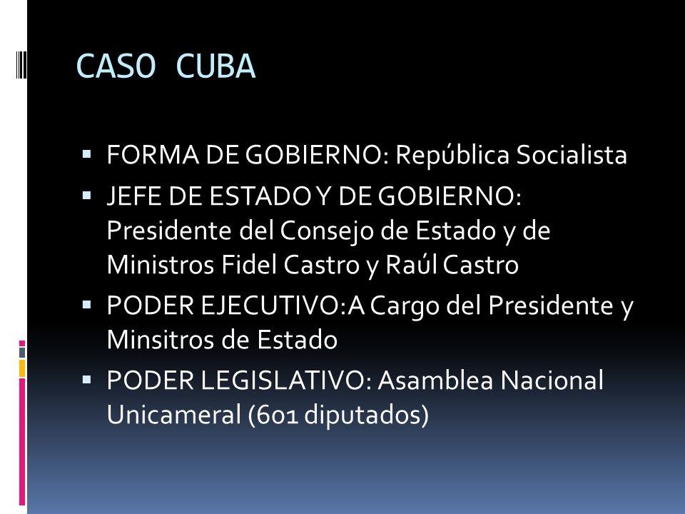 CASO CUBA FORMA DE GOBIERNO: República Socialista JEFE DE ESTADO Y DE GOBIERNO: Presidente del Consejo de Estado y de Ministros Fidel Castro y Raúl Ca