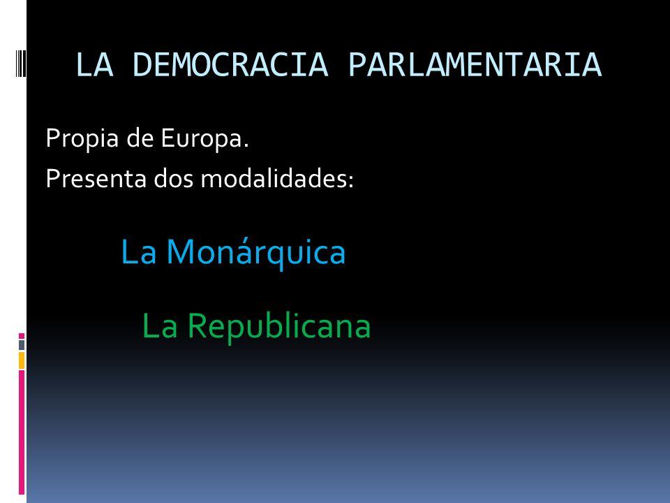 LA DEMOCRACIA PARLAMENTARIA Propia de Europa. Presenta dos modalidades: La Monárquica La Republicana