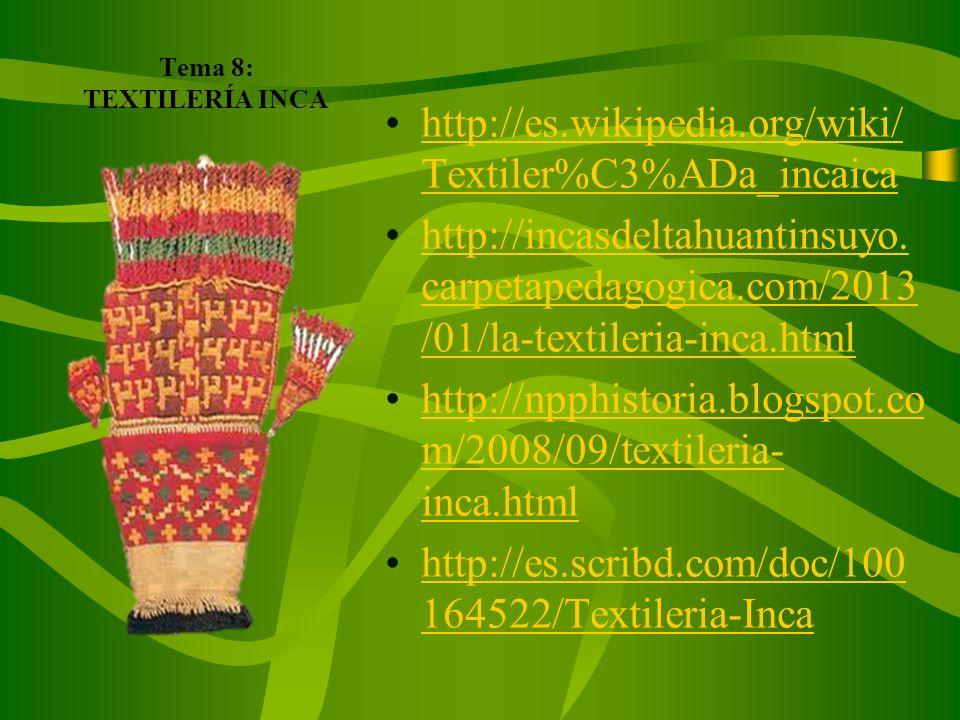 Tema 7. TÉCNICAS DE CONSERVACIÓN DE ALIMENTOS EN EL IMPERIO INCAICO http://historiadelagastronomia.over- blog.es/article-los-incas- conservacion-de-al