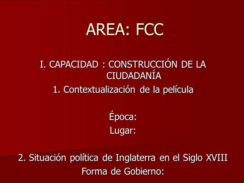AREA: FCC I. CAPACIDAD : CONSTRUCCIÓN DE LA CIUDADANÍA 1. Contextualización de la película Época:Lugar: 2. Situación política de Inglaterra en el Sigl