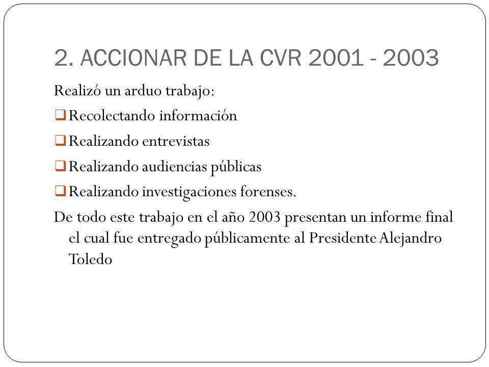 2. ACCIONAR DE LA CVR 2001 - 2003 Realizó un arduo trabajo: Recolectando información Realizando entrevistas Realizando audiencias públicas Realizando