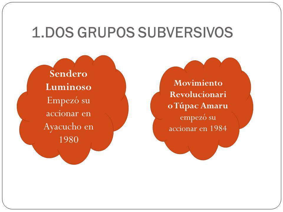 1.DOS GRUPOS SUBVERSIVOS Sendero Luminoso Empezó su accionar en Ayacucho en 1980 Movimiento Revolucionari o Túpac Amaru empezó su accionar en 1984