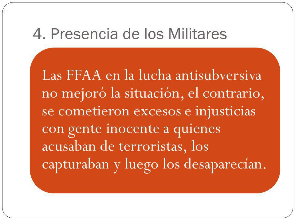 4. Presencia de los Militares Las FFAA en la lucha antisubversiva no mejoró la situación, el contrario, se cometieron excesos e injusticias con gente
