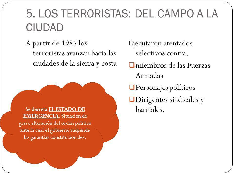 5. LOS TERRORISTAS: DEL CAMPO A LA CIUDAD A partir de 1985 los terroristas avanzan hacia las ciudades de la sierra y costa Ejecutaron atentados select