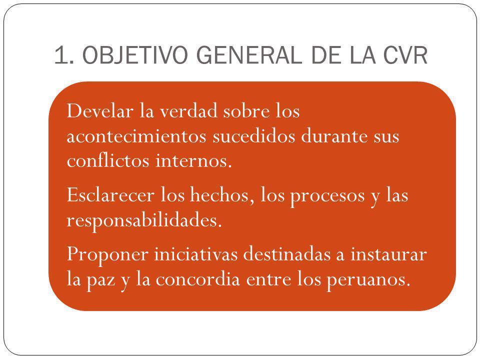 1. OBJETIVO GENERAL DE LA CVR Develar la verdad sobre los acontecimientos sucedidos durante sus conflictos internos. Esclarecer los hechos, los proces