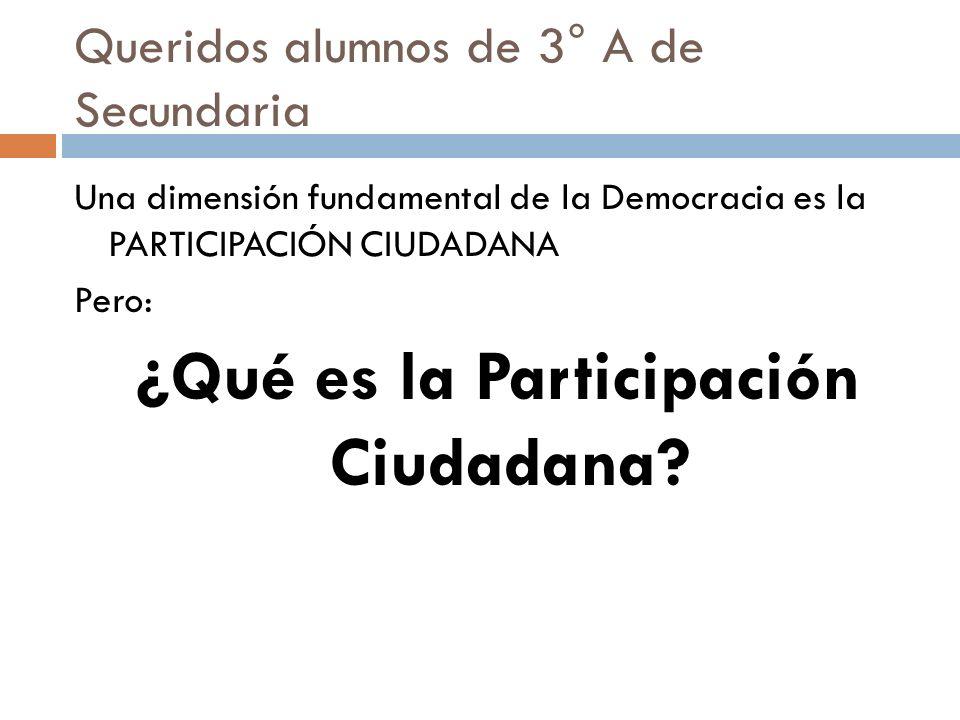 Queridos alumnos de 3° A de Secundaria Una dimensión fundamental de la Democracia es la PARTICIPACIÓN CIUDADANA Pero: ¿Qué es la Participación Ciudada