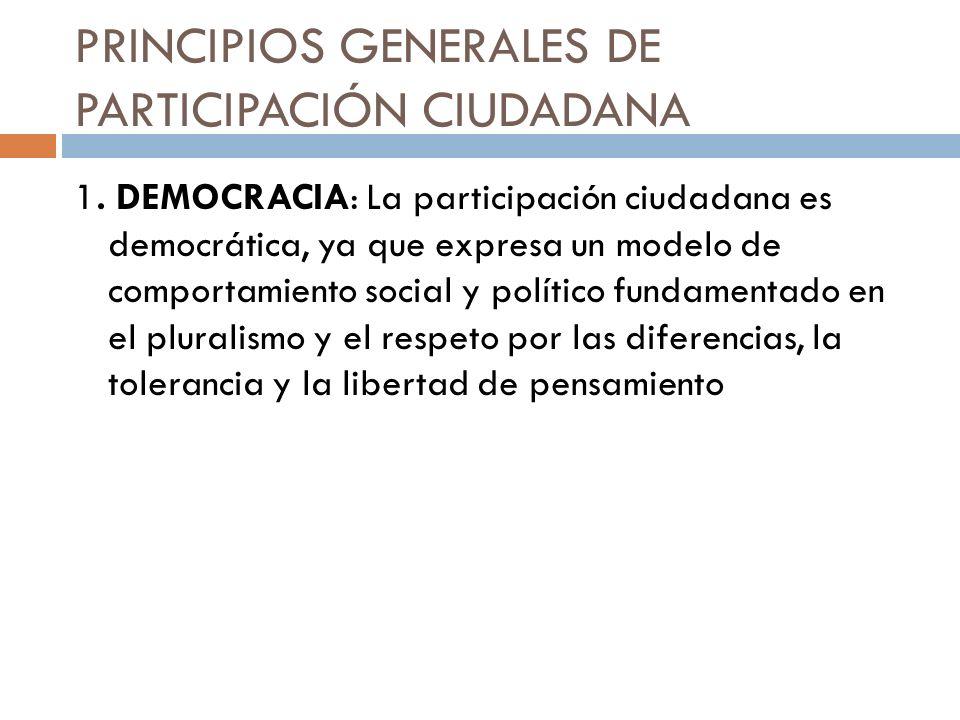 PRINCIPIOS GENERALES DE PARTICIPACIÓN CIUDADANA 1. DEMOCRACIA: La participación ciudadana es democrática, ya que expresa un modelo de comportamiento s