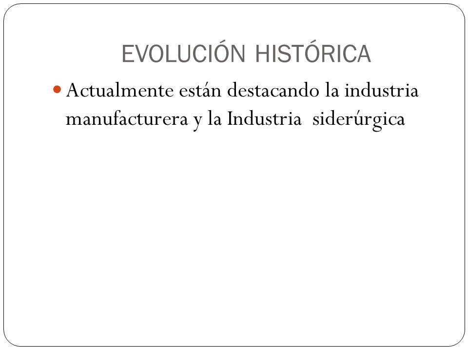 EVOLUCIÓN HISTÓRICA Actualmente están destacando la industria manufacturera y la Industria siderúrgica