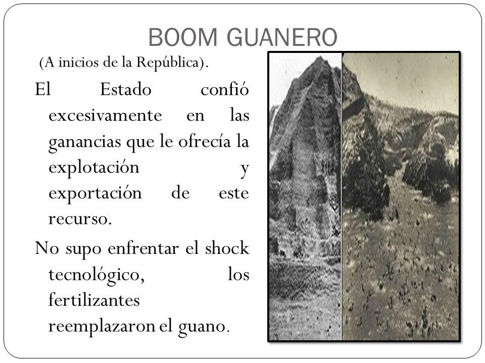 BOOM GUANERO (A inicios de la República). El Estado confió excesivamente en las ganancias que le ofrecía la explotación y exportación de este recurso.