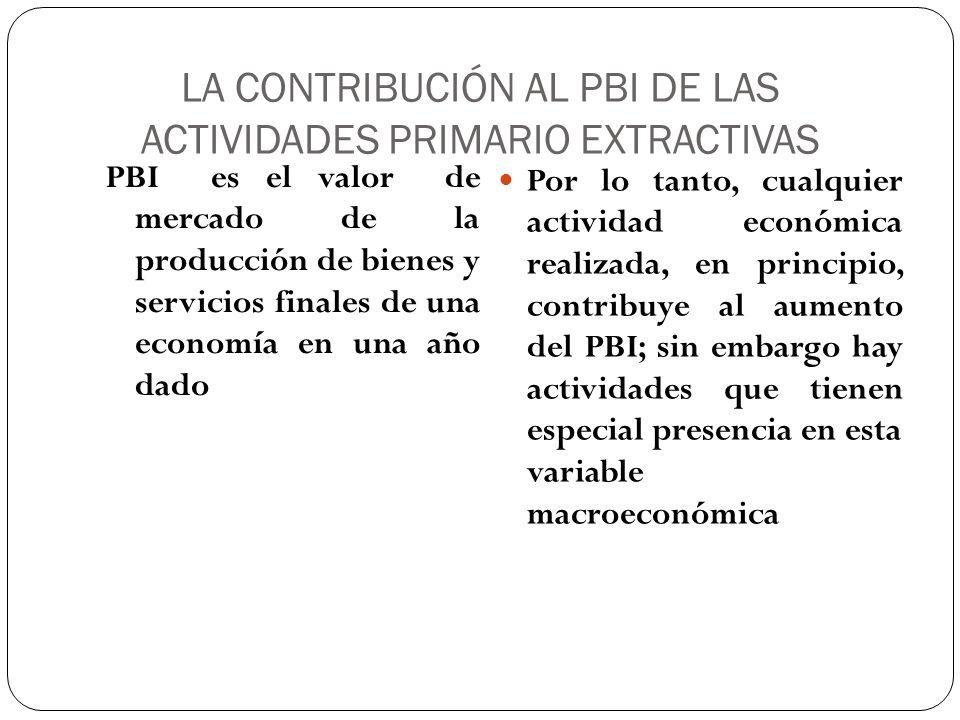LA CONTRIBUCIÓN AL PBI DE LAS ACTIVIDADES PRIMARIO EXTRACTIVAS PBI es el valor de mercado de la producción de bienes y servicios finales de una econom