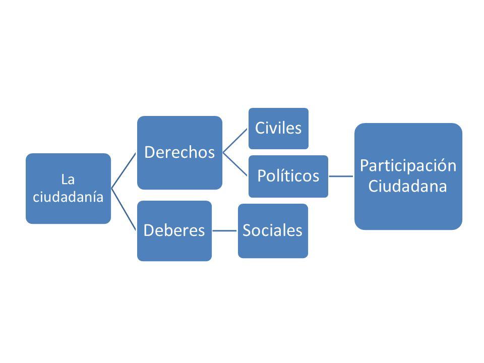 La ciudadanía Derechos Civiles Políticos Participación Ciudadana Deberes Sociales
