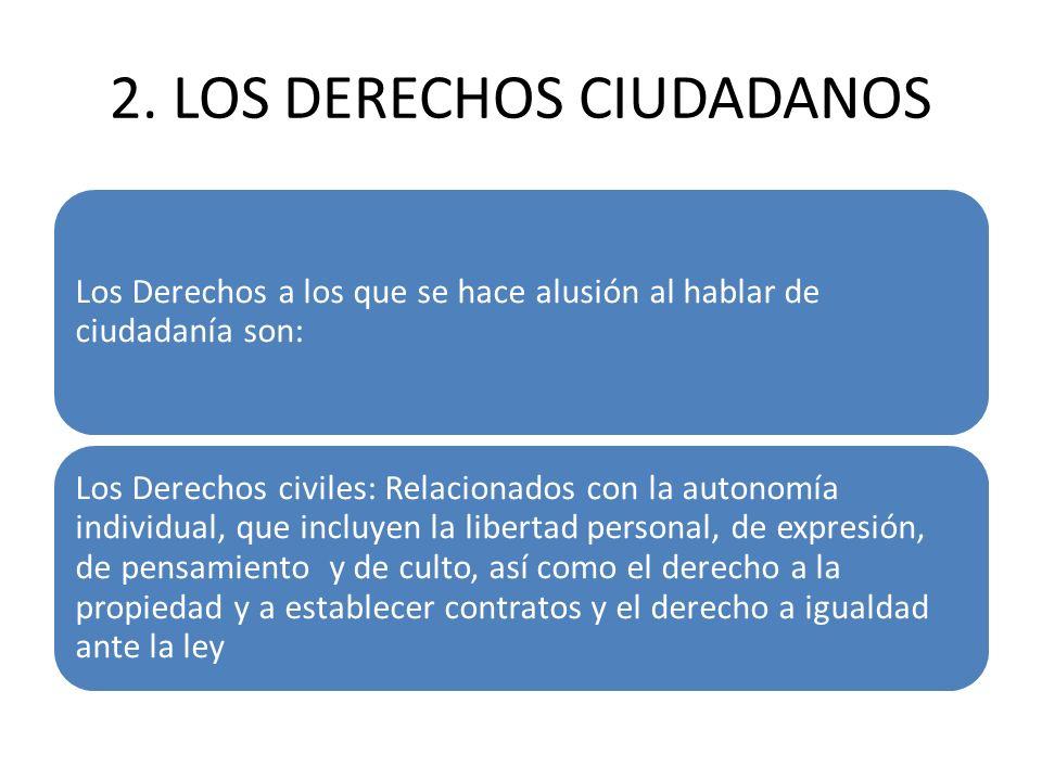 2. LOS DERECHOS CIUDADANOS Los Derechos a los que se hace alusión al hablar de ciudadanía son: Los Derechos civiles: Relacionados con la autonomía ind