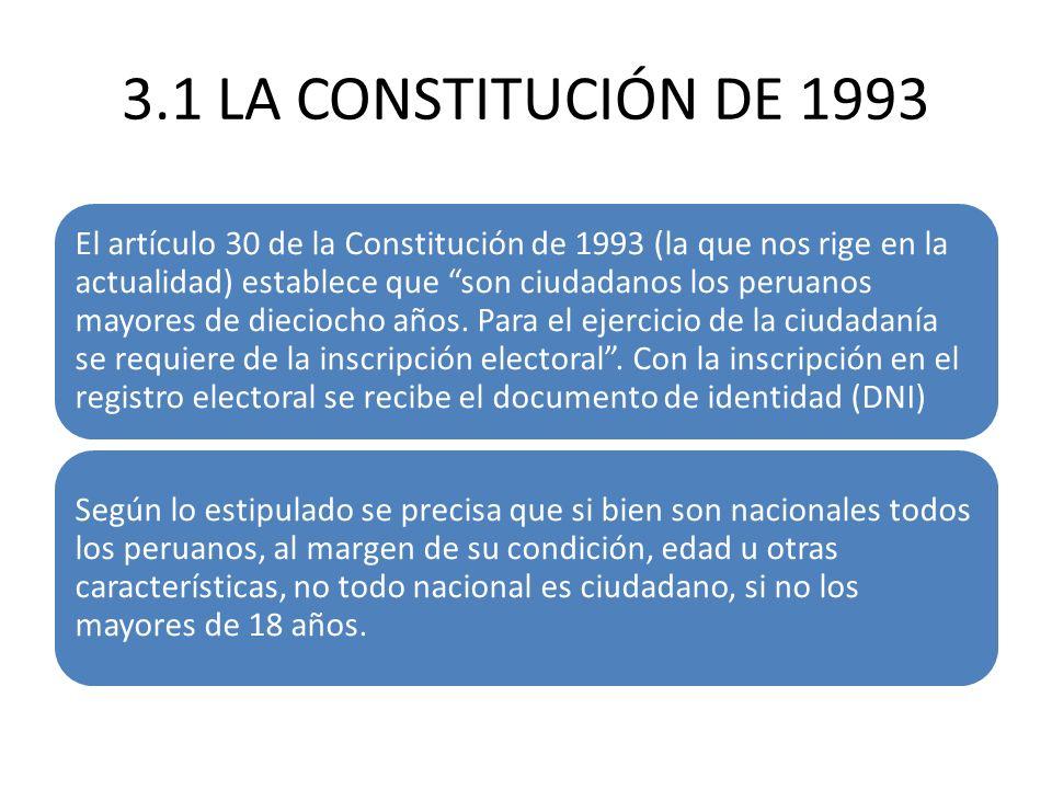3.1 LA CONSTITUCIÓN DE 1993 El artículo 30 de la Constitución de 1993 (la que nos rige en la actualidad) establece que son ciudadanos los peruanos may