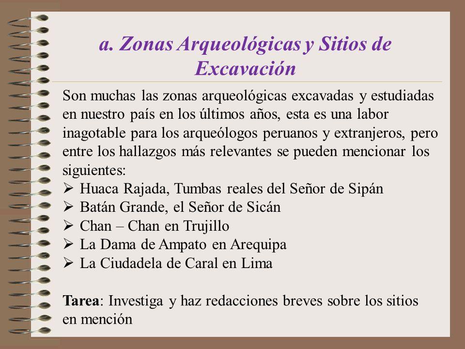 a. Zonas Arqueológicas y Sitios de Excavación Son muchas las zonas arqueológicas excavadas y estudiadas en nuestro país en los últimos años, esta es u