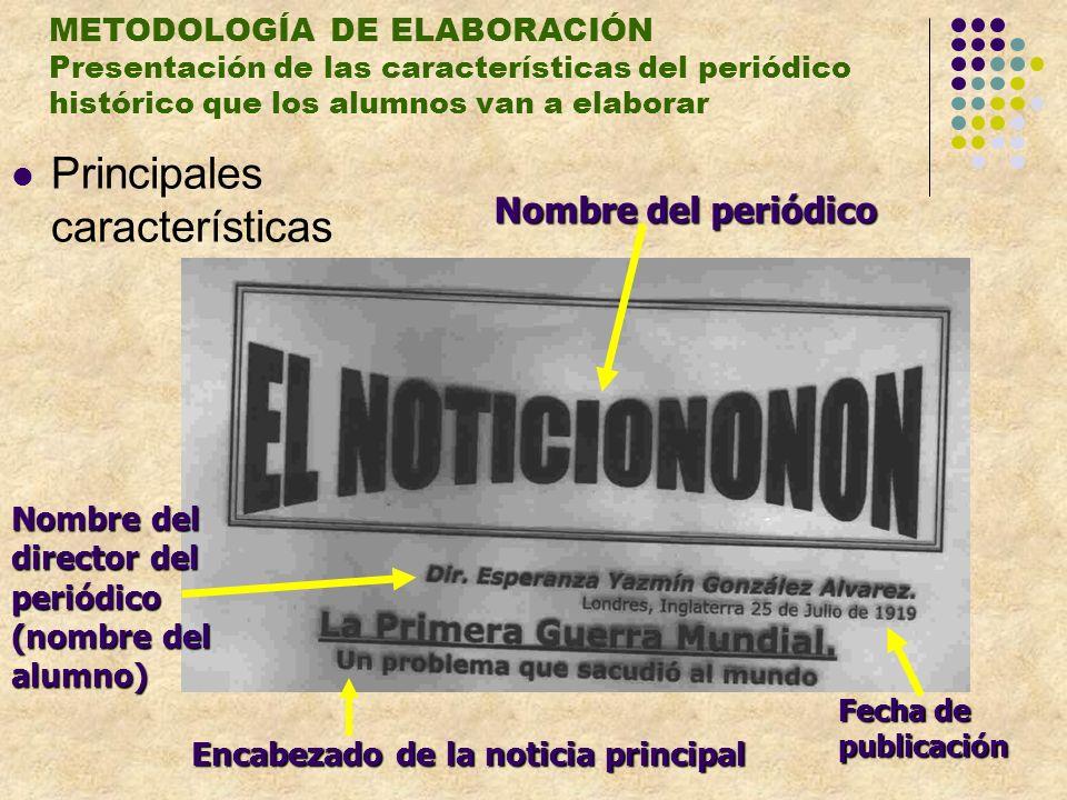 METODOLOGÍA DE ELABORACIÓN Presentación de las características del periódico histórico que los alumnos van a elaborar Principales características Nomb