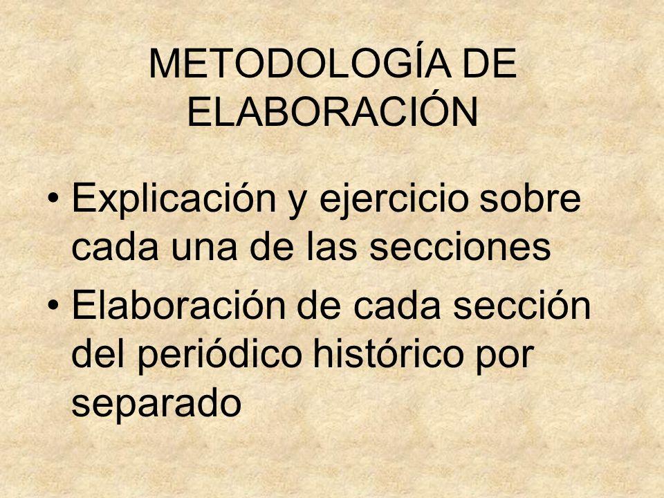 METODOLOGÍA DE ELABORACIÓN Explicación y ejercicio sobre cada una de las secciones Elaboración de cada sección del periódico histórico por separado