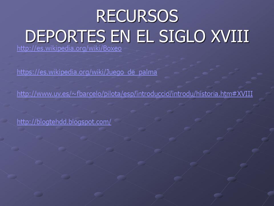 RECURSOS DEPORTES EN EL SIGLO XVIII http://es.wikipedia.org/wiki/Boxeo https://es.wikipedia.org/wiki/Juego_de_palma http://www.uv.es/~fbarcelo/pilota/