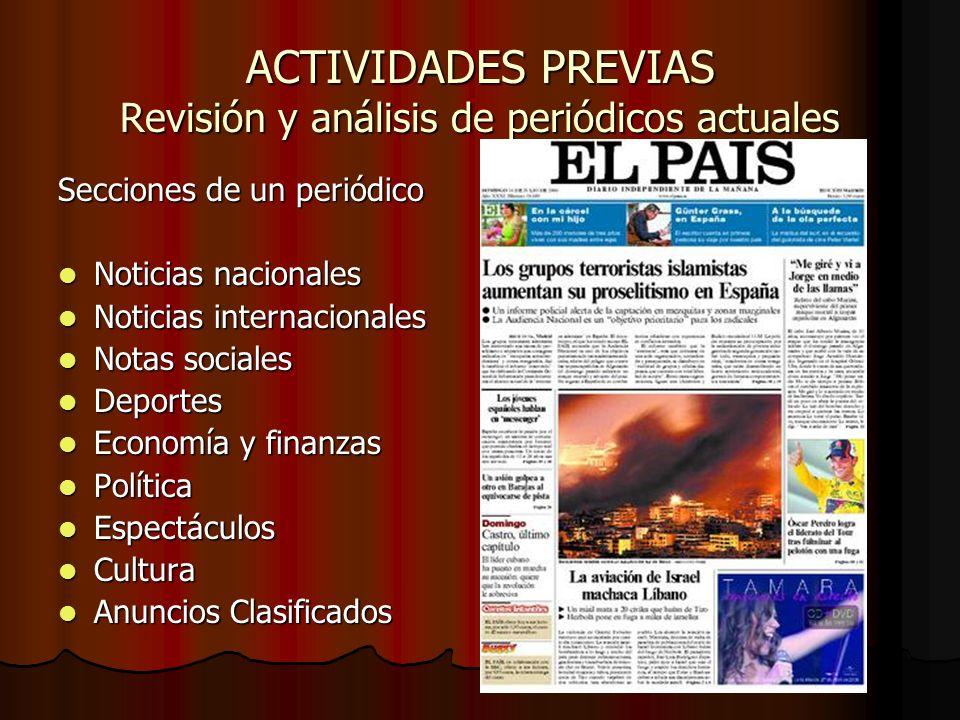 ACTIVIDADES PREVIAS Revisión y análisis de periódicos actuales Secciones de un periódico Noticias nacionales Noticias nacionales Noticias internaciona