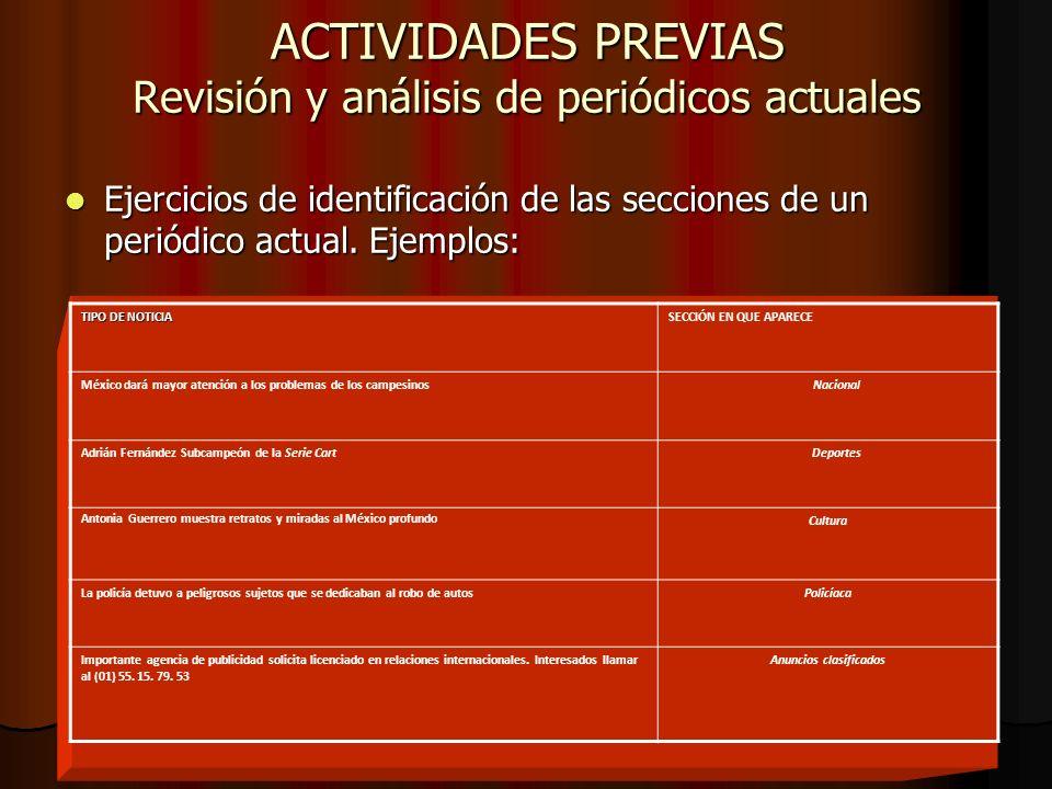 ACTIVIDADES PREVIAS Revisión y análisis de periódicos actuales Ejercicios de identificación de las secciones de un periódico actual. Ejemplos: Ejercic