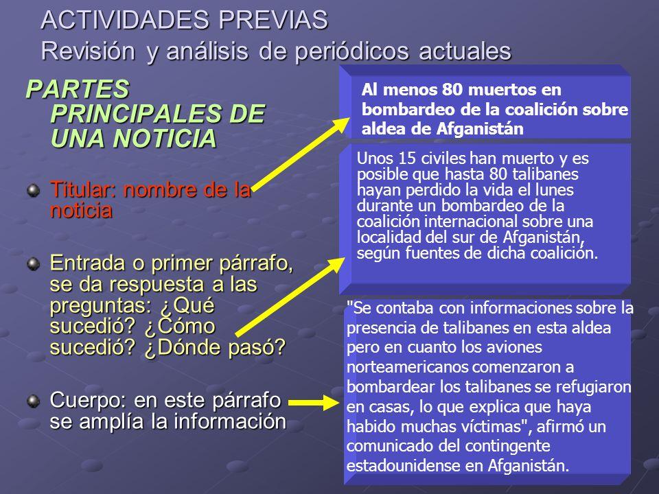 ACTIVIDADES PREVIAS Revisión y análisis de periódicos actuales PARTES PRINCIPALES DE UNA NOTICIA Titular: nombre de la noticia Entrada o primer párraf
