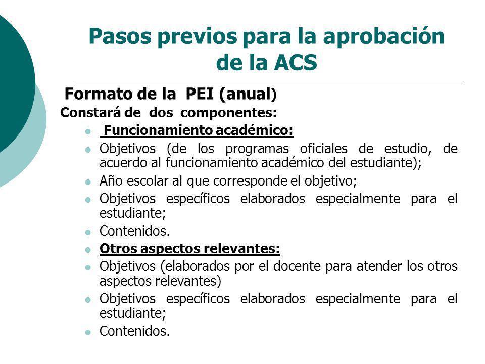 Pasos previos para la aprobación de la ACS Formato de la PEI (anual ) Constará de dos componentes: Funcionamiento académico: Objetivos (de los program