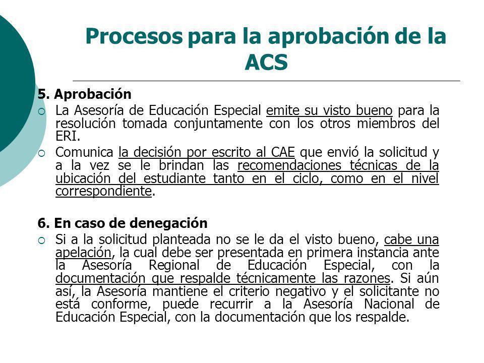 Procesos para la aprobación de la ACS 5. Aprobación La Asesoría de Educación Especial emite su visto bueno para la resolución tomada conjuntamente con