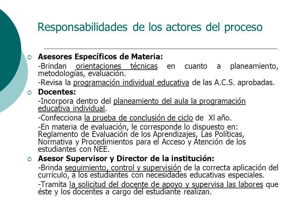 Responsabilidades de los actores del proceso Asesores Específicos de Materia: -Brindan orientaciones técnicas en cuanto a planeamiento, metodologías,