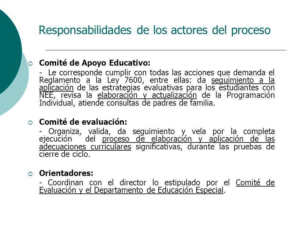 Responsabilidades de los actores del proceso Comité de Apoyo Educativo: - Le corresponde cumplir con todas las acciones que demanda el Reglamento a la