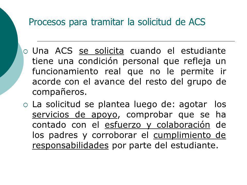 Procesos para tramitar la solicitud de ACS Una ACS se solicita cuando el estudiante tiene una condición personal que refleja un funcionamiento real qu
