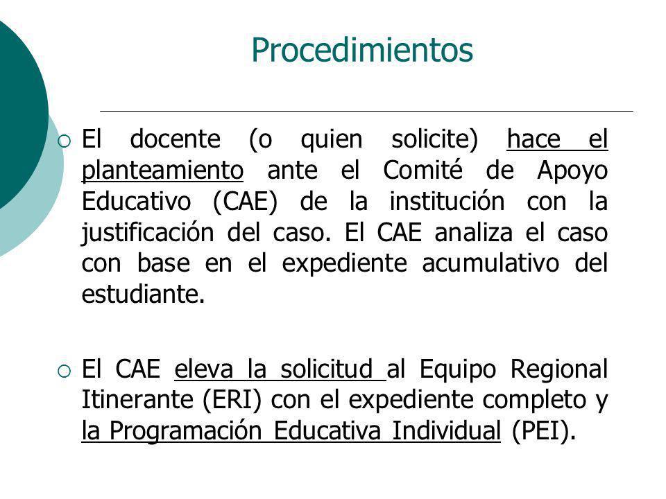 Procedimientos El docente (o quien solicite) hace el planteamiento ante el Comité de Apoyo Educativo (CAE) de la institución con la justificación del