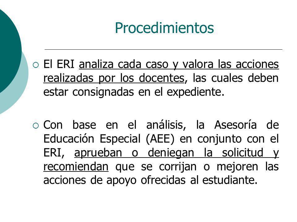 Procedimientos El ERI analiza cada caso y valora las acciones realizadas por los docentes, las cuales deben estar consignadas en el expediente. Con ba