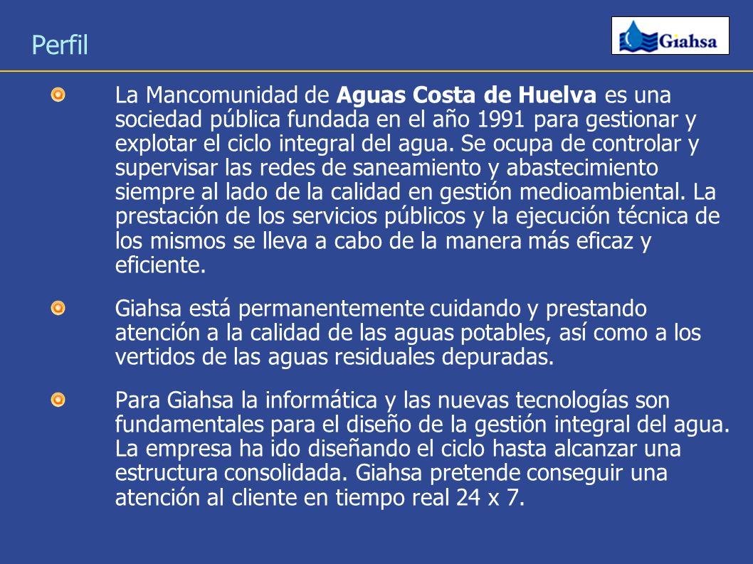 Perfil La Mancomunidad de Aguas Costa de Huelva es una sociedad pública fundada en el año 1991 para gestionar y explotar el ciclo integral del agua. S