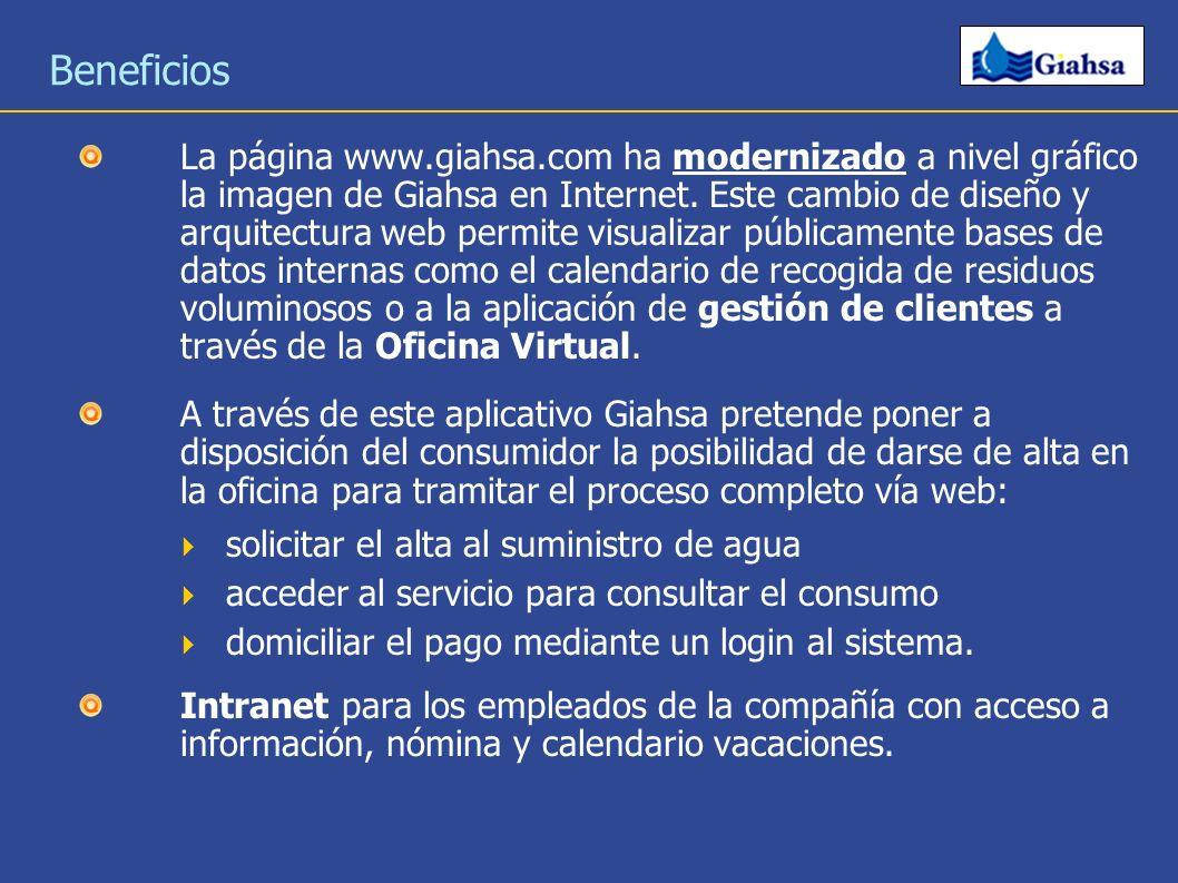 Beneficios La página www.giahsa.com ha modernizado a nivel gráfico la imagen de Giahsa en Internet. Este cambio de diseño y arquitectura web permite v
