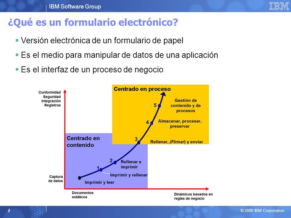 IBM Software Group © 2009 IBM Corporation 2 ¿Qué es un formulario electrónico? Versión electrónica de un formulario de papel Es el medio para manipula