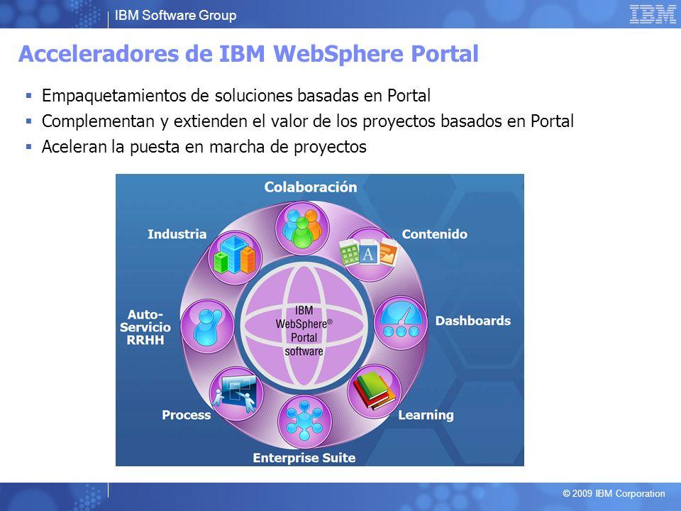 IBM Software Group © 2009 IBM Corporation Acceleradores de IBM WebSphere Portal Empaquetamientos de soluciones basadas en Portal Complementan y extien