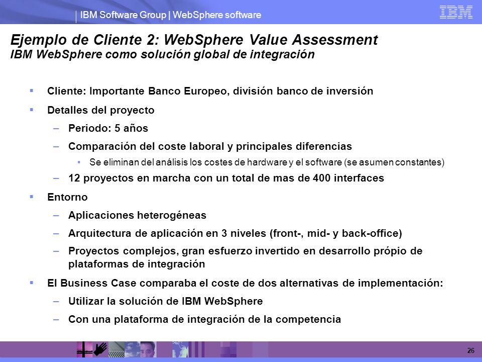 IBM Software Group | WebSphere software 26 Ejemplo de Cliente 2: WebSphere Value Assessment IBM WebSphere como solución global de integración Cliente:
