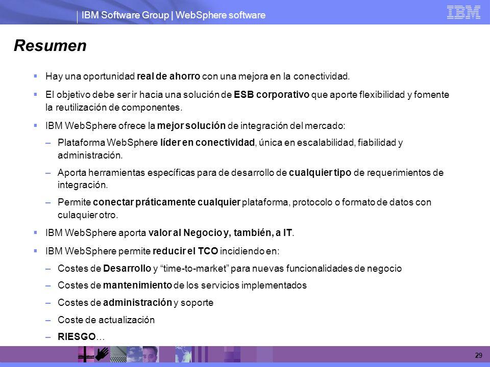 IBM Software Group | WebSphere software 29 Resumen Hay una oportunidad real de ahorro con una mejora en la conectividad. El objetivo debe ser ir hacia