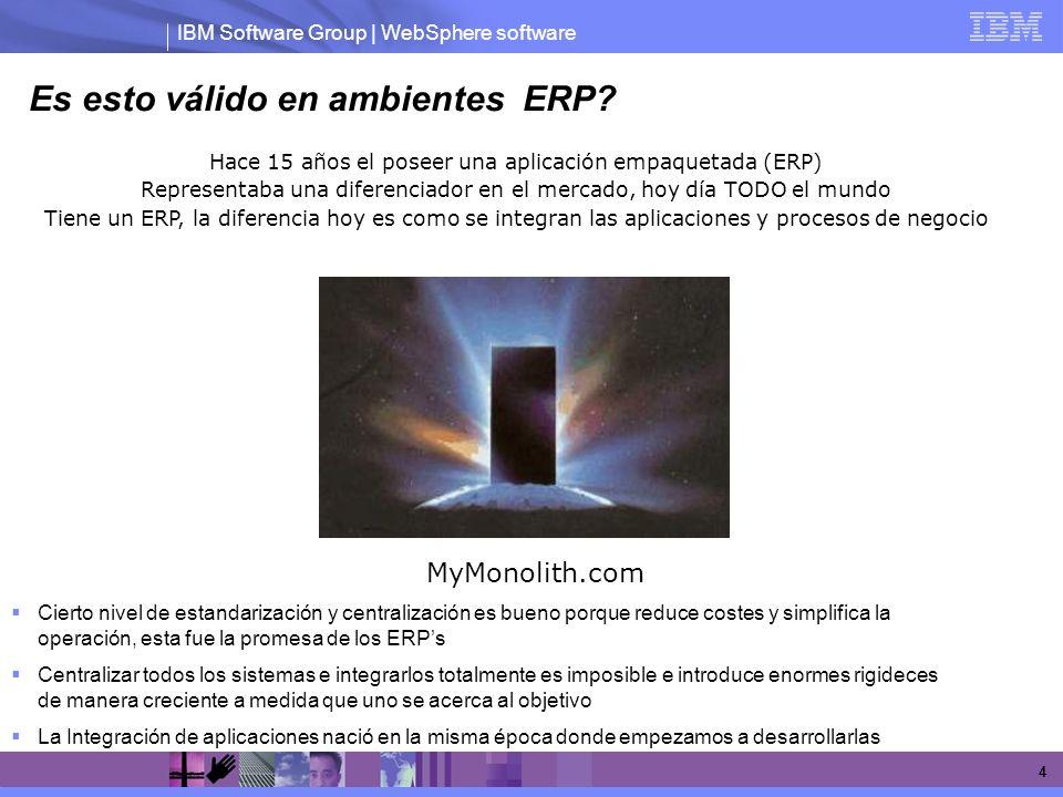 IBM Software Group | WebSphere software 4 Es esto válido en ambientes ERP? Hace 15 años el poseer una aplicación empaquetada (ERP) Representaba una di