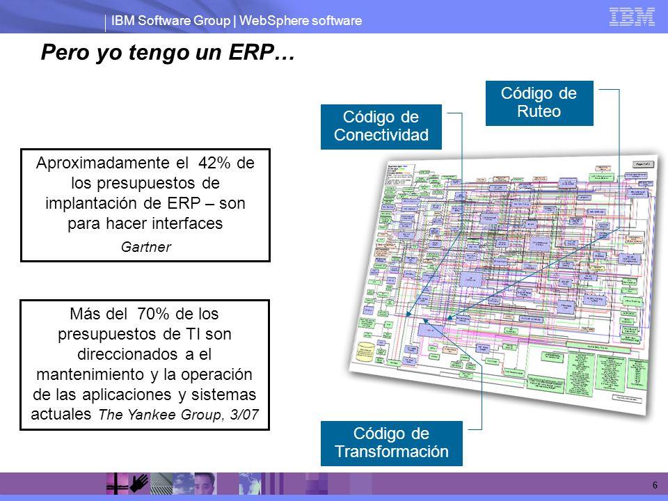 IBM Software Group | WebSphere software 6 Pero yo tengo un ERP… Más del 70% de los presupuestos de TI son direccionados a el mantenimiento y la operac